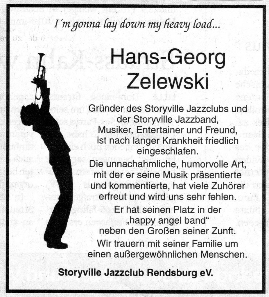 Anzeige zum Tod von Hans